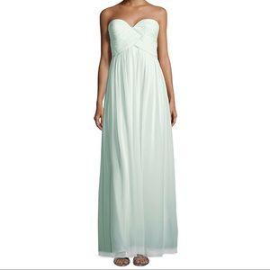 Donna Morgan Strapless Laura Dress in Beach Glass